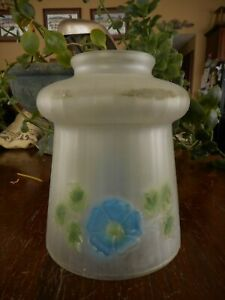 """Antique Frosted Floral Blue Flowers Glass Shade for Lamp Light Morning Glory 5"""""""
