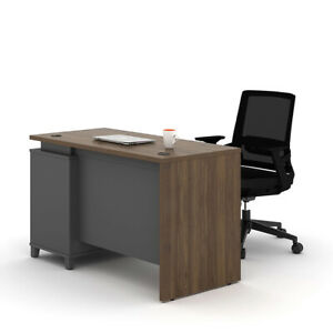 Home Office Computer table walnut wood color Desk with pedestal drawer n keylock
