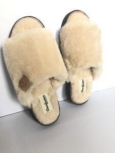 Dearfoams Cream slippers. Shearling Mules. UK 7. US 9. EUR 40 25.5cm
