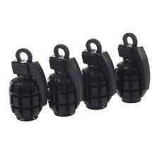 4 Stueck Metall Kunststoff reine schwarz Form Auto Reifen Ventilkappe