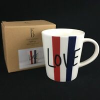 NEW Coffee Mug by Ellen Degeneres Royal Doulton London Red White & Blue Love