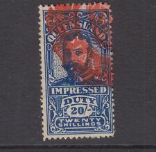 QUEENSLAND 1920 20/- Blue GV IMPRESSED DUTY -Elsmore Cat $10++- VFU