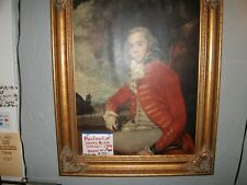 Large Vintage Print of Young British Officer During French Indian War with Gold