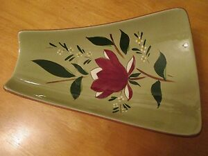 Stangl Pottery Magnolia Serving Snack Fruit Bowl Tray Green Red