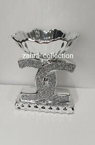 Fruit Dry Fruit Bowl Silver Ceramic Romany Round Crushed Bling Sparkle Diamond