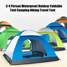 3-4 Person Waterproof Outdoor Foldable Pop Up Tent Camping Hiking Family Travel