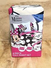 Disney Minnie Mouse 4 Piece Microfiber Full Sheet Set New