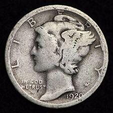 1920-S MERCURY DIME / CIRCULATED GRADE GOOD / VERY GOOD 90% SILVER COIN