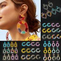 Charm Raffia Geometric Earrings Drop Dangle Braid Handmake Colorful Jewelry