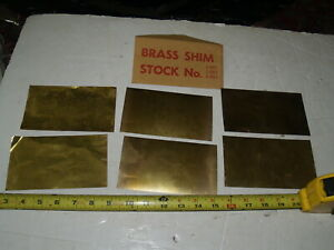 """NOS 6 pieces set of Brass Shim Stock-6""""X3"""" Two pieces each - .001"""" .002"""" .003"""""""