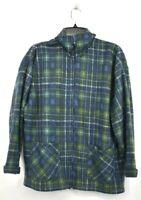 One Stepup Mens Blue Plaid Full Zip Fleece Jacket Flat Collar Pockets L