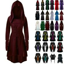 Womens Halloween Witch Gothic Medieval Gown Cape Cosplay Fancy Club Party Dress
