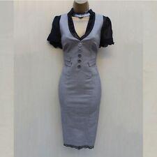 Karen Millen Grey Black Silk Dogtooth Work Office Evening Pencil Dress UK 8 36