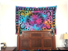 Tie Dye Psychedelic Celestial Indian Sun Tapestry Blanket, Wall Hanging (Twin)