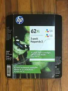 New HP 62XL Genuine Tri-Color Ink Cartridge 2 Pack -  Expiration Oct 2021 High