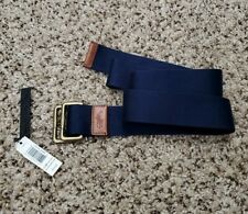 Deadstock NEW Polo Ralph Lauren D Ring Belt Cotton Leather Navy Blue Size XL