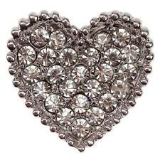 LOVE HEART CRYSTAL Diamante Silver Shoe Clips Crystal Bridal Rhinestone Bag