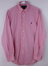 Ralph Lauren Men's Dress Shirt Pink Blue Striped Custom Fit L/S Size 15 32/33