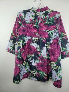 Janie and Jack Feeling Fuchsia Purple Blue Floral Dress Empire Waist Lined Sz 4