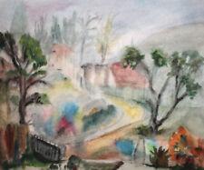Vintage Impressionist watercolor painting landscape