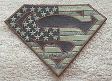 SUPERMAN AMERICAN FLAG TAN PATCH Cloth Badge/Emblem Biker Jacket Iron Sew USA