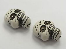 25 pcs White Huge Halloween Gothic Skull Acrylic Beads Charm 36mm (Double side)