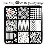 BORN PRETTY Nail Art Stamp Template Image Stamping Plates Geometry 6*6cm BP-X06