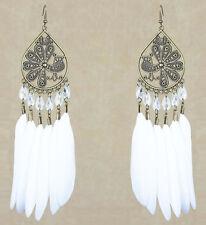 F2603F White Feather Earrings Peacock Lovely Beads Chandelier Handmade Eardrop