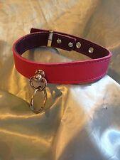 Handmade leather Cerise Pink Ring Collar.Any Colour & Size Bondage  fetish