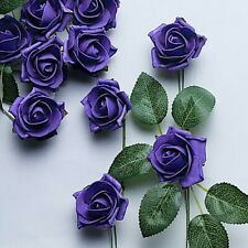 "24 Purple 2"" Mini Foam Rose Flowers Stems Wedding Events Decorations Supplies"
