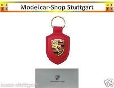 Porsche Schlüsselanhänger Wappen rot - Echtleder - Made in Germany