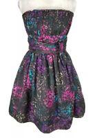 Betsey Johnson Black Pink Floral Strapless Mini Cocktail Dress Women Size 10