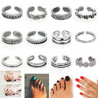 12PCS Retro Celebrity Jewelry Retro Silver Adjustable Open Toe Ring Finger Foot