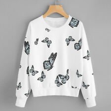 Womens Butterfly Print Long Sleeve Casual Sweatshirt Pullover Tops Blouse Shirts White 2xl