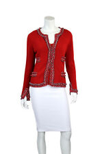 CHANEL 03A Red Aztec & Fringe Border Long Sleeve Cashmere Sweater - Size US 12