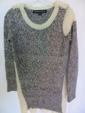 Womens sweater tunic size M French Connection Ivory Gray Wool Blend sz 8 Buttons