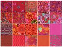 "FreeSpirit Kaffe Fassett Classics LIPSTICK 42-10"" Fabric Squares Cotton Quilting"