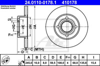 2x Bremsscheibe für Bremsanlage Hinterachse ATE 24.0110-0178.1
