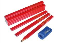 12 x Faithfull FAICPR12S Red medium carpenters pencils tube and pencil sharpener