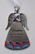 j Grandma you r always in heart Stained glass look Guardian Angel Ornament Ganz