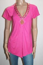 together Designer Pink V Neck Beaded Short Sleeve Top Size 12-M BNWT #SR49