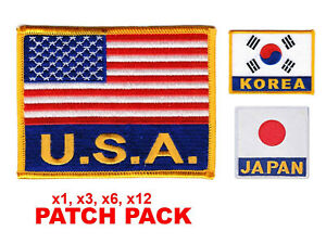 """Flag Patch Pack USA KOREA JAPAN Embroidered Patch Sew-on  4"""" x 3"""" Martial Arts"""
