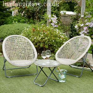 High Quality Folding Faux Rattan Bistro Set - 2 Chairs + 1 Glass Top Table