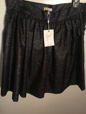 JOIE Black Silver Full Mini Skirt Size 10 New W Tags