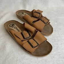Cherokee Sandals Brown Leather Slip On Slides Size 7 Womens Shoes