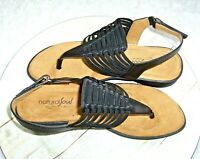Natural Soul by Naturalizer Womens Comfort Sandals Black Strappy 7M Faux Leather