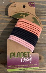 Goody Planet OuchlessBamboo Elastic Thick Hair Tie - 30 Count Mixed Colors New!