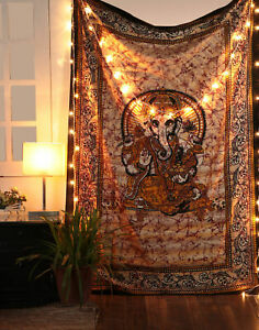 Lord Ganesh Wall Hanging Bohemian Home Decor Ethnic Throw Tapestry Bedspread Art
