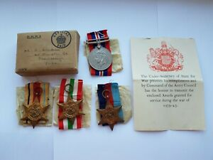ORIGINAL FULL SIZE WW2 MEDAL GROUP OF 4,BOXED,A JACKSON,FROM SCARBOROUGH,MINT