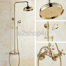 Luxury Gold Color Brass Bathroom Shower Faucet Set Dual Handles Mixer Tap Ugf331